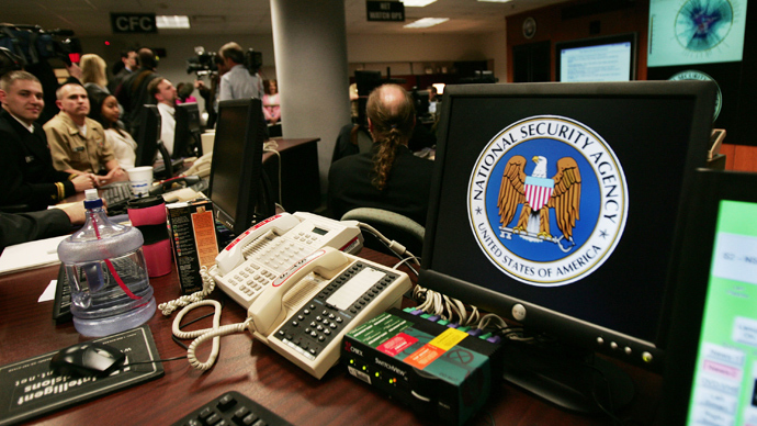 National Security Agency (NSA) logo inside the Threat Operations Center inside the Washington suburb of Fort Meade (AFP Photo)