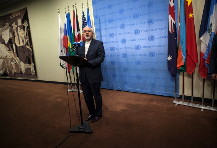 Iran's Foreign Minister Mohammad Javad Zarif speaks to the media after a meeting of the foreign ministers representing the permanent five member countries of the United Nations Security Council, including Germany, at the U.N. Headquarters in New York September 26, 2013 (Reuters / Eric Thayer)