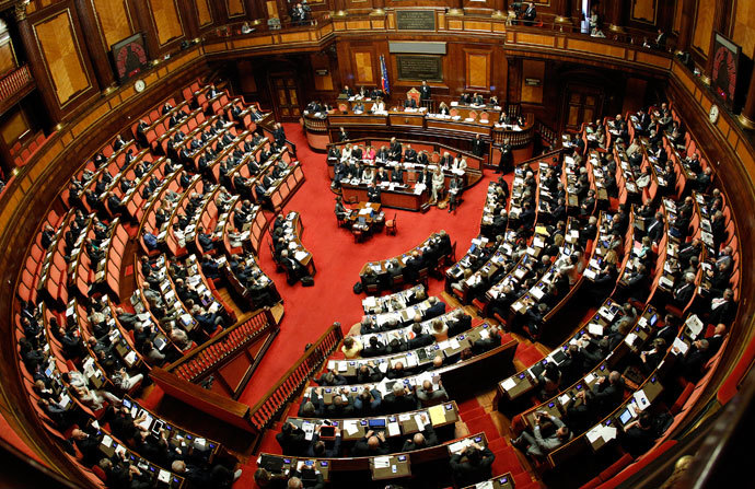 A general view shows the Upper house of the parliament in Rome, in this April 30, 2013 file picture. Italian centre-right leader Silvio Berlusconi pulled his ministers out of the ruling coalition on September 28, 2013.(Reuters / Giampiero Sposito)