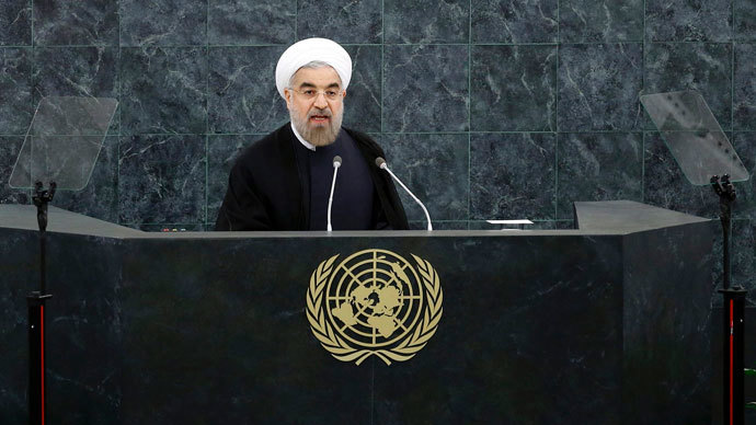 Iran's President Hassan Rouhani addresses the 68th United Nations General Assembly at UN headquarters in New York, September 24, 2013. (Reuters / Ray Stubblebine)