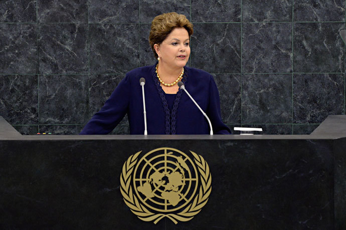 Brazilian President Dilma Roussef speaks at the 68th United Nations General Assembly on September 24, 2013 in New York City.(AFP Photo / Andrew Burton)
