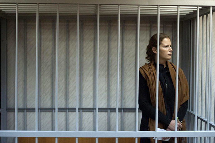 This handout picture released on September 29, 2013 by Greenpeace International shows Greenpeace activist Ana Paula Alminhana Maciel from Brazil at the Leninsky district Court of Murmansk. (AFP Photo/Dmitri Sharomov)