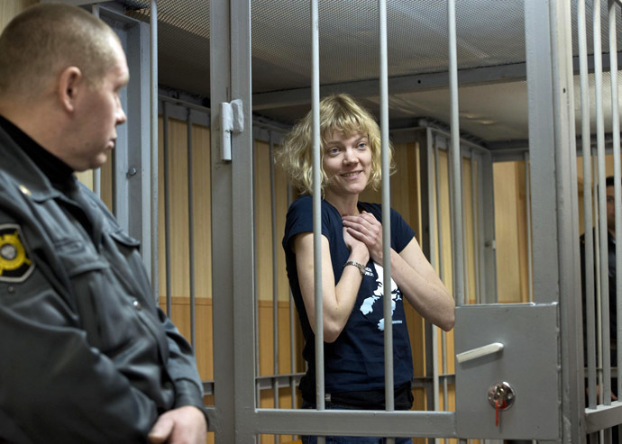 This handout picture released on September 29, 2013 by Greenpeace International shows Greenpeace activist Sini Saarela from Finland at the Leninsky district Court of Murmansk. (AFP Photo/Dmitri Sharomov)