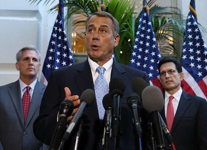House Speaker John Boehner (R-OH) (C) speaks to the media
