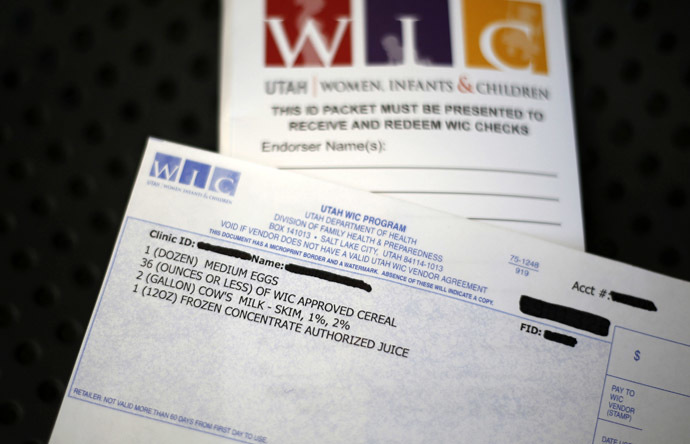 A WIC voucher for food at the Women, Infants and Children (WIC) offices is seen at a Salt Lake County health clinic in South Salt Lake City, Utah, October 2, 2013. (Reuters/Jim Urquhart)