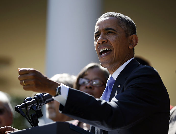 U.S. President Barack Obama delivers remarks about the implementation of the Affordable Care Act in the Rose Garden of the White House in Washington, October 1, 2013. (Reuters / Jason Reed)