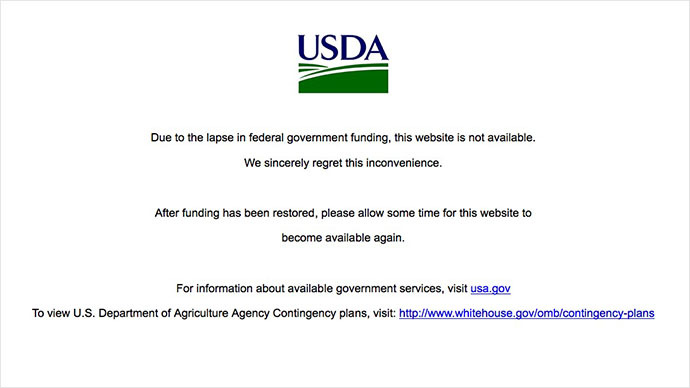 A screenshot from usda.gov