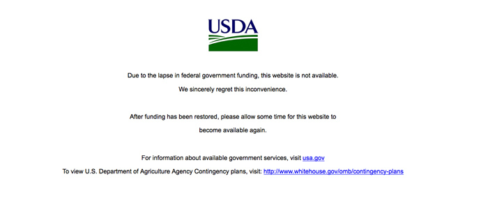 screenshot from www.usda.gov