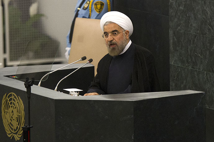 Hassan Rouhani, President of the Islamic Republic of Iran addresses the 68th United Nations General Assembly at UN headquarters in New York, September 24, 2013. (AFP Photo / Brendan McDermid)