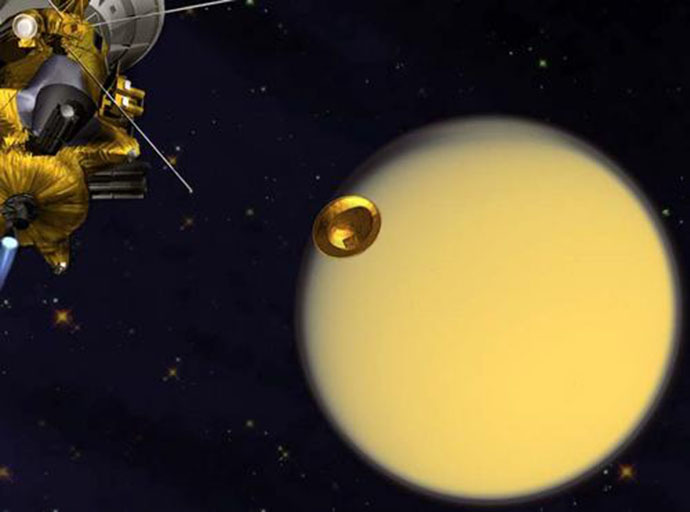 An artist's concept of the European Space Agency's Huygens Probe en route to Titan after release from the NASA Cassini orbiter. (Credit: NASA/JPL)