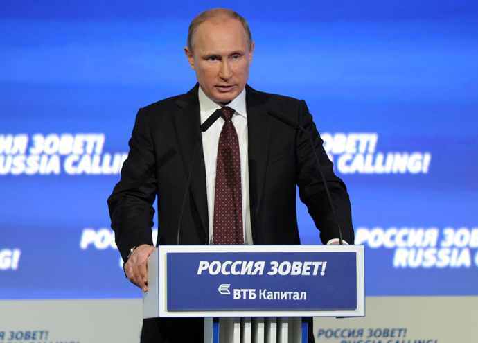October 2, 2013. President Vladimir Putin speaks at a meeting of the VTB Capital Forum Russia Calling, in Moscow (RIA Novosti / Aleksey Nikolsky)
