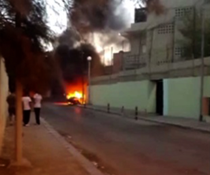 Video still from Ruptly's exclusive footage shows the Russian Embassy in Tripoli, Libya after an attack by unknown militants on October 2, 2013.