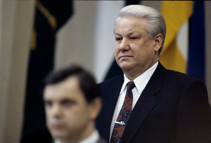 March 26-29, 1993. Russian President Boris Yeltsin and Chairman of the Russian Supreme Council Ruslan Khasbulatov at the 9th Extraordinary Congress of People's Deputies of Russia. (RIA Novosti/Alexander Makarov)