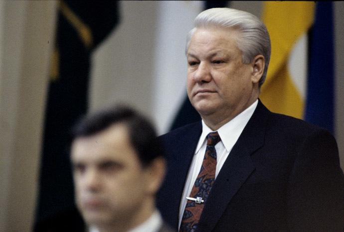March 26-29, 1993. Russian President Boris Yeltsin and Chairman of the Russian Supreme Council Ruslan Khasbulatov at the 9th Extraordinary Congress of People's Deputies of Russia. (RIA Novosti/Alexander Makarov)