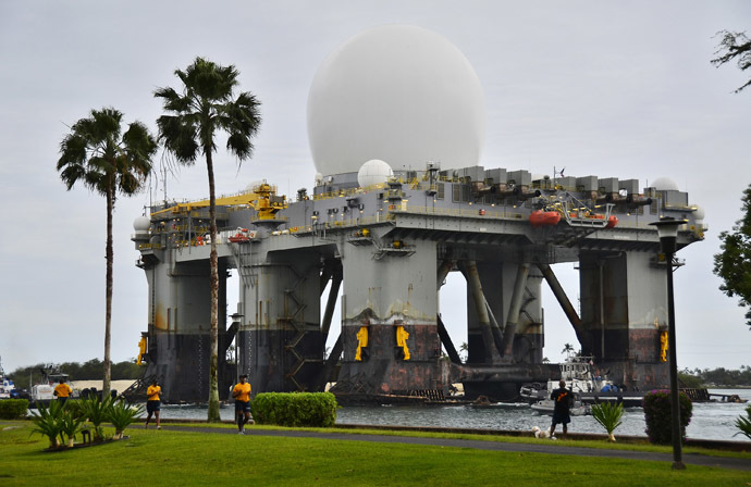 This March 22, 2013 handout image provided by the US Navy shows the Sea-based, X-band Radar (SBX 1) transits the waters of Joint Base Pearl Harbor-Hickam in Pearl Harbor, Hawaii. (AFP Photo/US Navy)