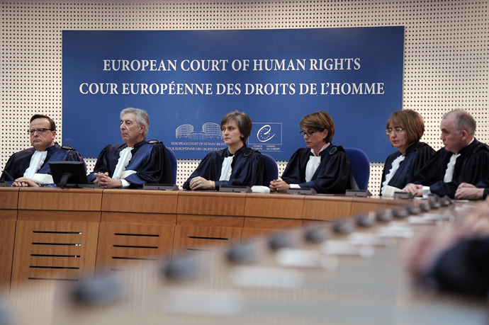 Judges of the European Court of Human Rights attend an audience for the reassembly of the European court of Human rights (AFP Photo / Frederick Florin)