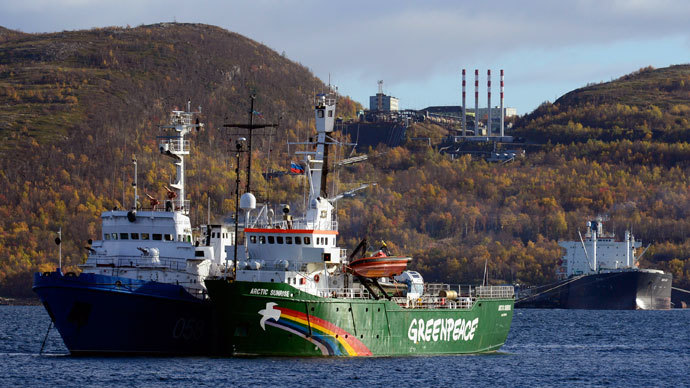 "Greenpeace ship ""Arctic Sunrise"" is seen anchored outside the Arctic port city of Murmansk September 24, 2013.(Reuters / Stringer)"