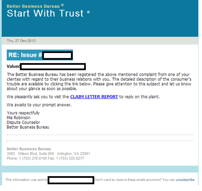 A sample fake letter that Blackhole would send to users to trick them into clicking on the link, which would initiate a malware download.