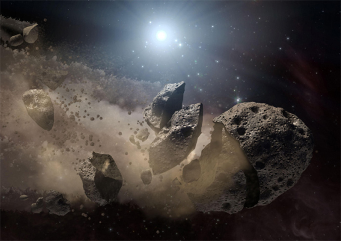 Shattered asteroid remains contain two essential keys to a habitable planet -- rock and water. (Credit: NASA/JPL-Caltech)