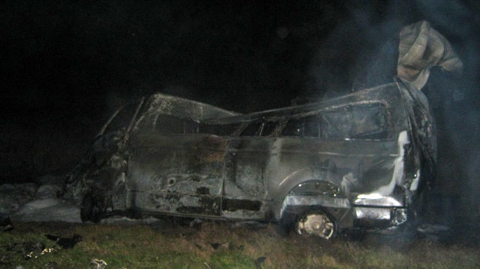 13 killed as Russian bus crashes into truck, catches fire