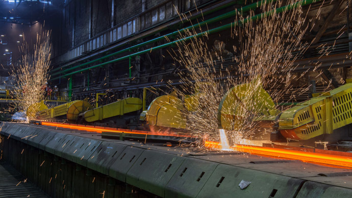 Rail and beam shop at EVRAZ Consolidated Western-Siberian Metallurgical Plant. (RIA Novosti/Sergey Guneev)