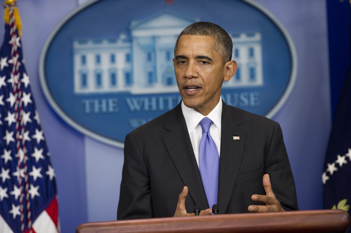 US President Barack Obama speaks about the government shutdown and debt ceiling standoff in the Brady Press Briefing Room of the White House in Washington, DC, October 16, 2013 (AFP Photo / Saul Loeb)