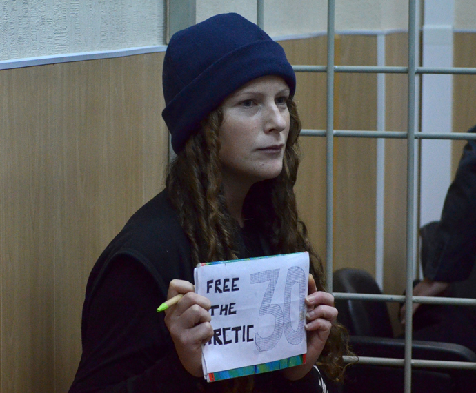 Ana Paula Maciel, a citizen of Brazil and environmentalist, at the Murmansk Regional Court that hears an appeal to the arrest of Greenpeace activists detained onboard the Arctic Sunrise (RIA Novosti / Maksim Zharavin)