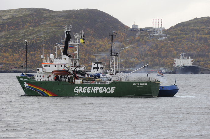 Greenpeace's ice class Arctic Sunrise detained by FSB during an action of protest at the Prirazlomnaya oil platform in the Kola Bay of the Perchora Sea (RIA Novosti / Sergey Eshenko)
