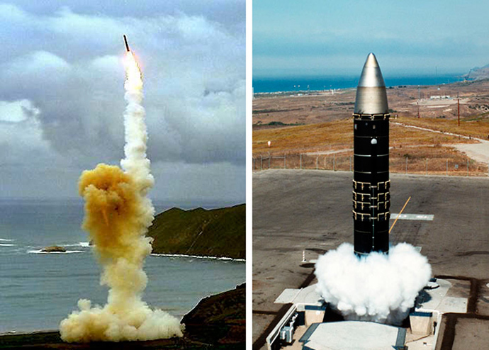 The LGM-30G Minuteman intercontinental ballistic missile (ICBM) (L) and the LG-118A Peacekeeper missile (AFP Photo / US DoD)