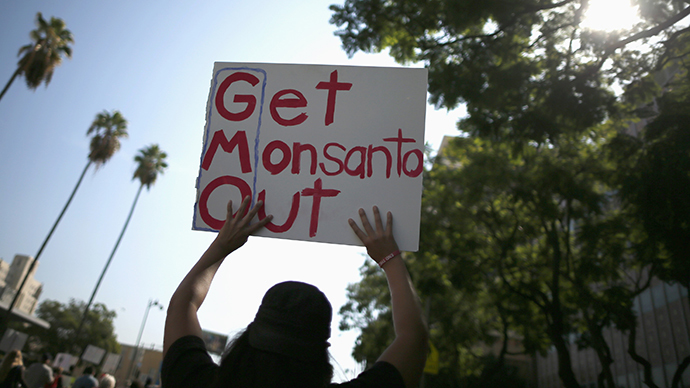 """People hold signs during one of many worldwide """"March Against Monsanto"""" protests against GMOs and agro-chemicals (Reuters / Lucy Nicholson)"""