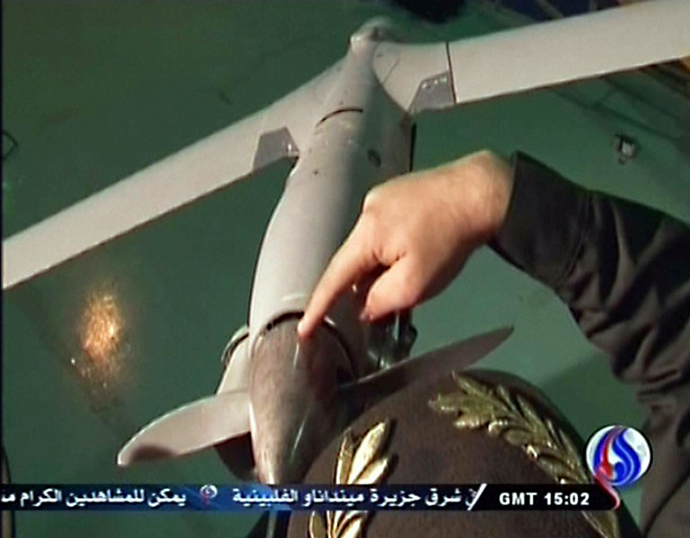 An image grab taken from Iran's state television Al-Alam on December 4, 2012, is said to show US drone that penetrated its airspace over Gulf waters. (AFP Photo)