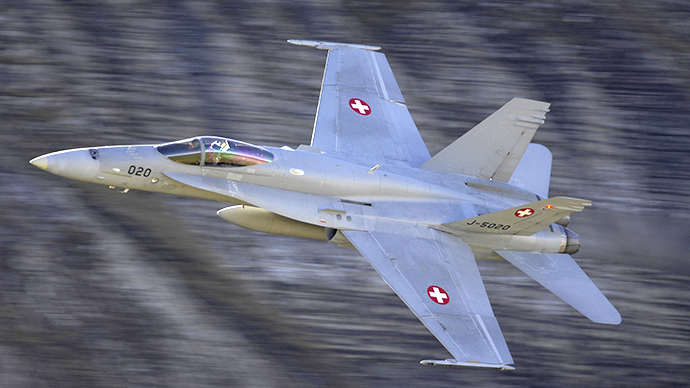 An undated handout photo shows a Swiss Air Force single seater Boeing FA-18C Hornet fighter plane.  (Reuters / Swiss Air force)