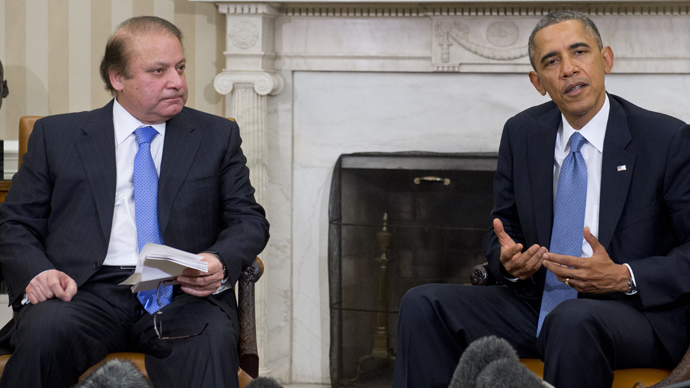 Pakistani PM demands end to drone strikes as he meets Obama