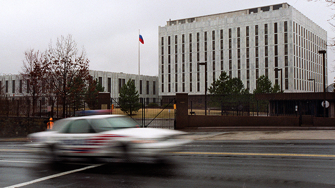 This file photo shows the Russian Embassy in Washington, DC. (AFP Photo / Shawn Thew)