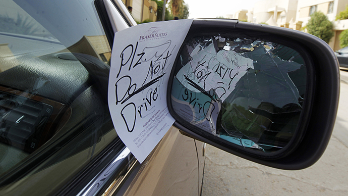 A note placed by an unknown person on female driver car, is pictured in Saudi Arabia (Reuters / Fahad Shadeed)