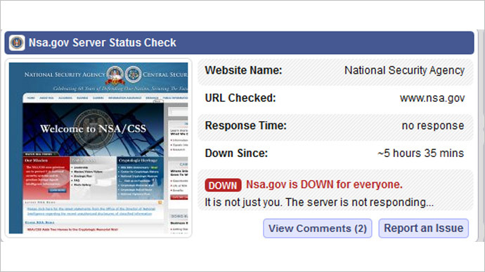 NSA site went down due to 'internal error', not DDoS attack, agency claims