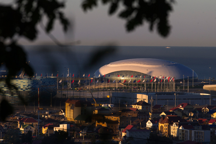 A general view shows the Bolshoy Ice Dome during sunrise at the coastal cluster of 2014 Sochi Winter Olympics in Sochi October 25, 2013 (Reuters / Thomas Peter)