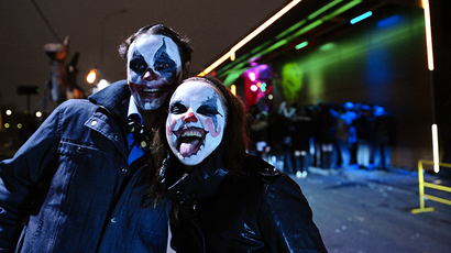 Young people wearing makeup for Halloween celebration in Moscow. (RIA Novosti / Ramil Sitdikov)