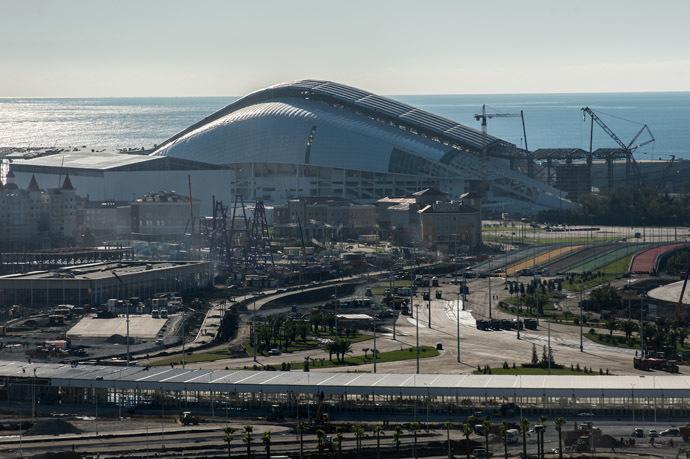 Construction of the Fisht Stadium in the Olympic Park in Sochi. (RIA Novosti/Mihail Mokrushin)