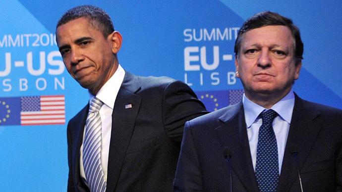 US President Barack Obama (L) and EU Commission President Jose Manuel Barroso (AFP Photo/Tim Sloan)