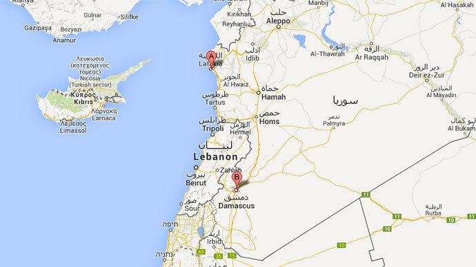 A-Latakia, B-Damascus (Google Map)
