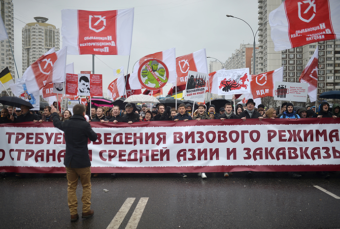 "Participants of the ""Russian March-2013"" in Moscow on November 4, 2013. (RIA Novosti / Vladimir Astapkovich)"