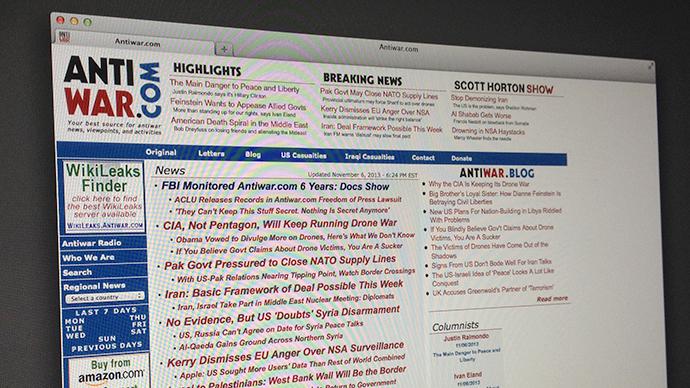 Anti-war site, upon notifying FBI of cyber-threat, became surveillance target