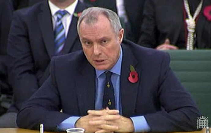 A screen grab from the UK's Parliamentary Recording Unit (PRU) shows Britain's head of electronic eavesdropping agency GCHQ, Iain Lobban, speaking during a questioning hearing by parliament's Intelligence and Security Committee in London on November 7, 2013. (AFP/PRU)