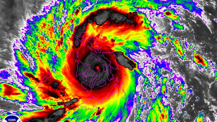 Typhoon Haiyan is pictured in this NOAA satellite handout image taken November 8, 2013 at 01:57 UTC. (Reuters)