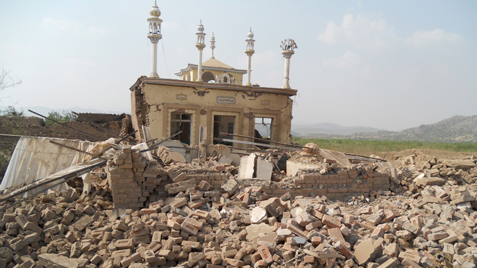 A damaged mosque is seen at the site of a bomb attack in the Spin Tal region of Hangu district, bordering North Waziristan in October 3, 2013. (Reuters / Syed Shah)