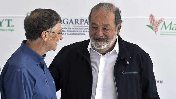 Mexican tycoon Carlos Slim (right) and US business magnate Bill Gates (AFP Photo / Ronaldo Schemidt)