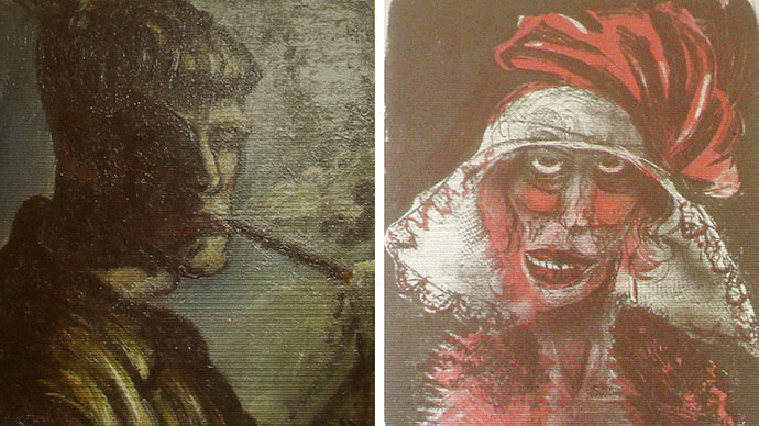 A combination of two formerly unknown paintings by German artist Otto Dix are beamed to a wall November 5, 2013, in an Augsburg courtroom during a news conference held by state prosecutor Reinhard Nemetz and expert art historian Meike Hoffmann from the Berlin Free University. (Reuters / Michael Dalder)