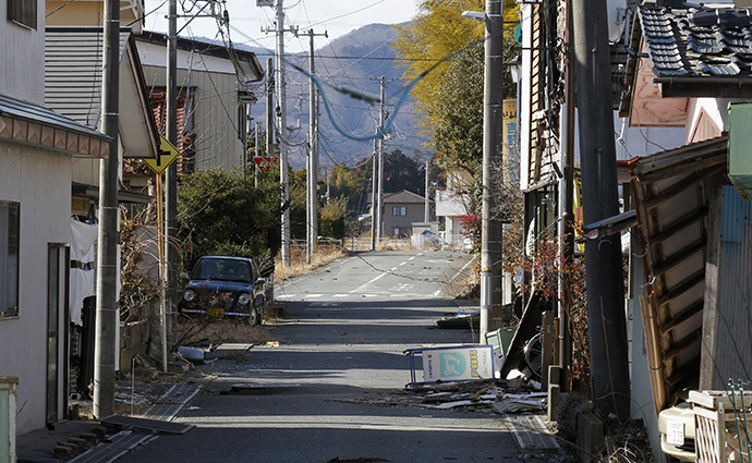 An empty street is seen in the abandoned town of Okuma, inside the 20-km (12-mile) radius around the tsunami-crippled Fukushima Daiichi nuclear power plant in Fukushima prefecture February 12, 2012. (Reuters / Kim Kyung Hoon)