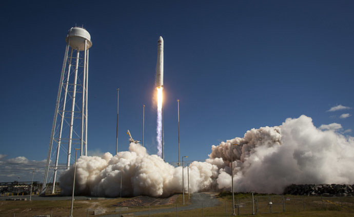 This photo courtesy of NASA shows the Orbital Sciences Corporation Antares rocket, with the Cygnus cargo spacecraft aboard, as it launches from Pad-0A of the Mid-Atlantic Regional Spaceport (MARS), September 18, 2013, NASA Wallops Flight Facility, Virginia. (AFP/NASA)